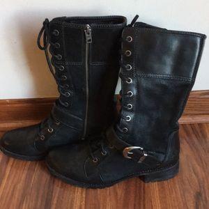 Black Timberland Combat Bethel Buckle Boots